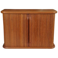 Teak Wall Cabinet with Tambour Doors