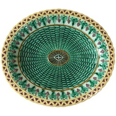 English Majolica Wicker and Ivy Leaves Platter Wedgwood