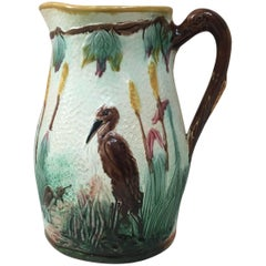 Large English Majolica Birds and Cattails Pitcher, circa 1880