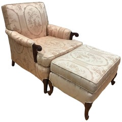 Carved Mahogany Pink Chinoiserie Chair and Ottoman