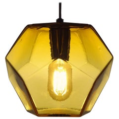 Modern Handmade Glass Lighting - Hedron Series Pendant in Gold, Customizable