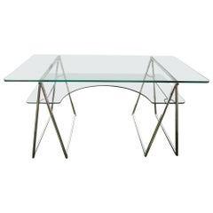 Modern Chrome and Glass Sawhorse Desk