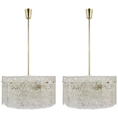 Two Matching Kalmar Brass and Textured Glass Midcentury Chandeliers, 1960s