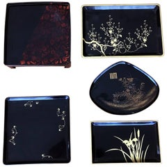 Collection of Five Vintage Japanese Lacquer Trays