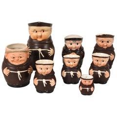 Eight Small Porcelain Mugs, Friars, Various Measures, Italian and German