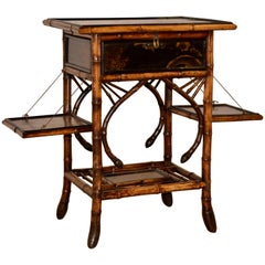 19th Century French Bamboo Sewing Table