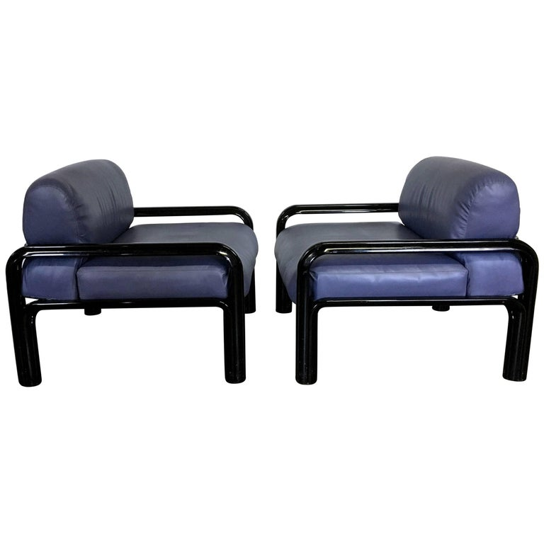 Gae Aulenti for Knoll Leather and Steel Chairs