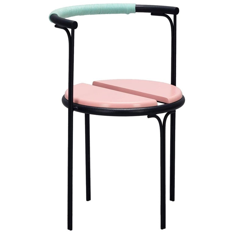Pink Cafe Chair Caoba Wood Contemporary Style For Sale