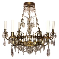 Wonderful French Empire Neoclassical Regency Bronze Crystal Basket Chandelier
