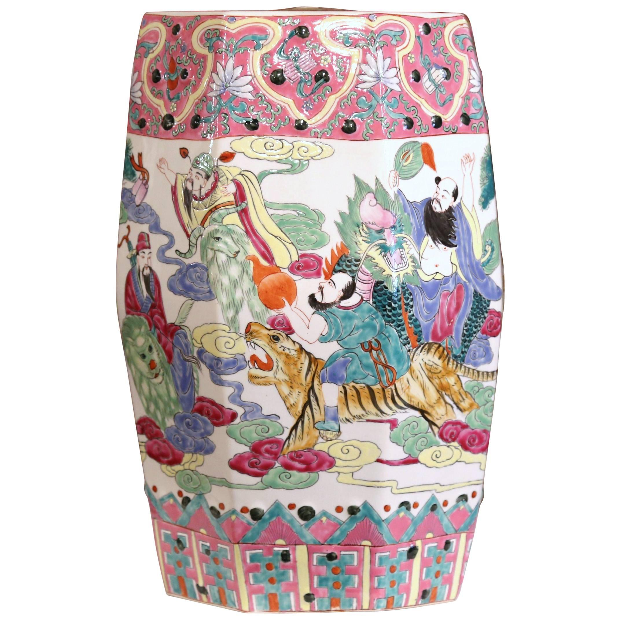 Mid 20th Century Chinese Famille Rose Garden Seat