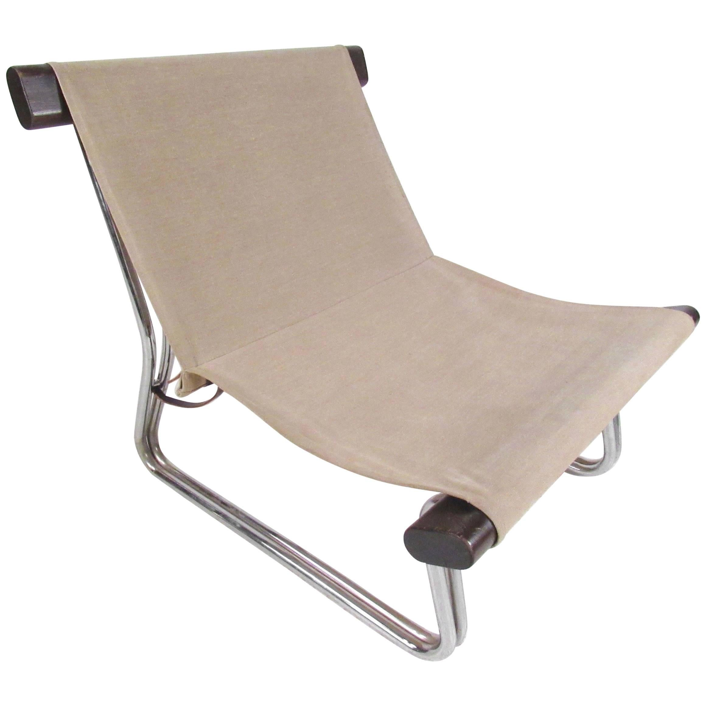 Scandinavian Modern Canvas And Chrome Sling Chair
