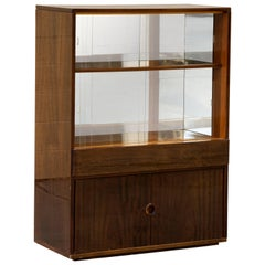 1950s Lacquer Cabinet with Glass Shelves