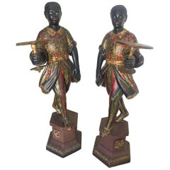 Pair of Antique Enameled Decorated Venetian Blackamoors