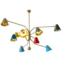 Nine Directional Arms Chandelier with Colored Sconces