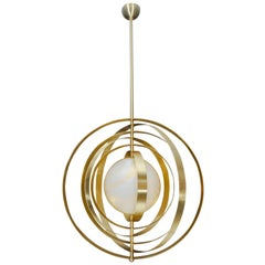 Glustin Luminaires Creation Alabaster Suspension with Brass Rings