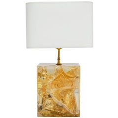 Light Yellow Fractal Resin and Brass Table Lamp