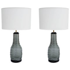 Pair of Grey and Black Murano Glass Table Lamps