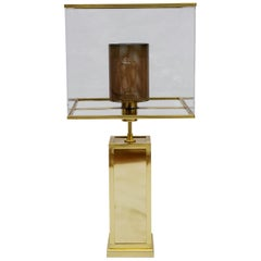 All Brass Rectangular Lamps with Plexiglass Lampshades