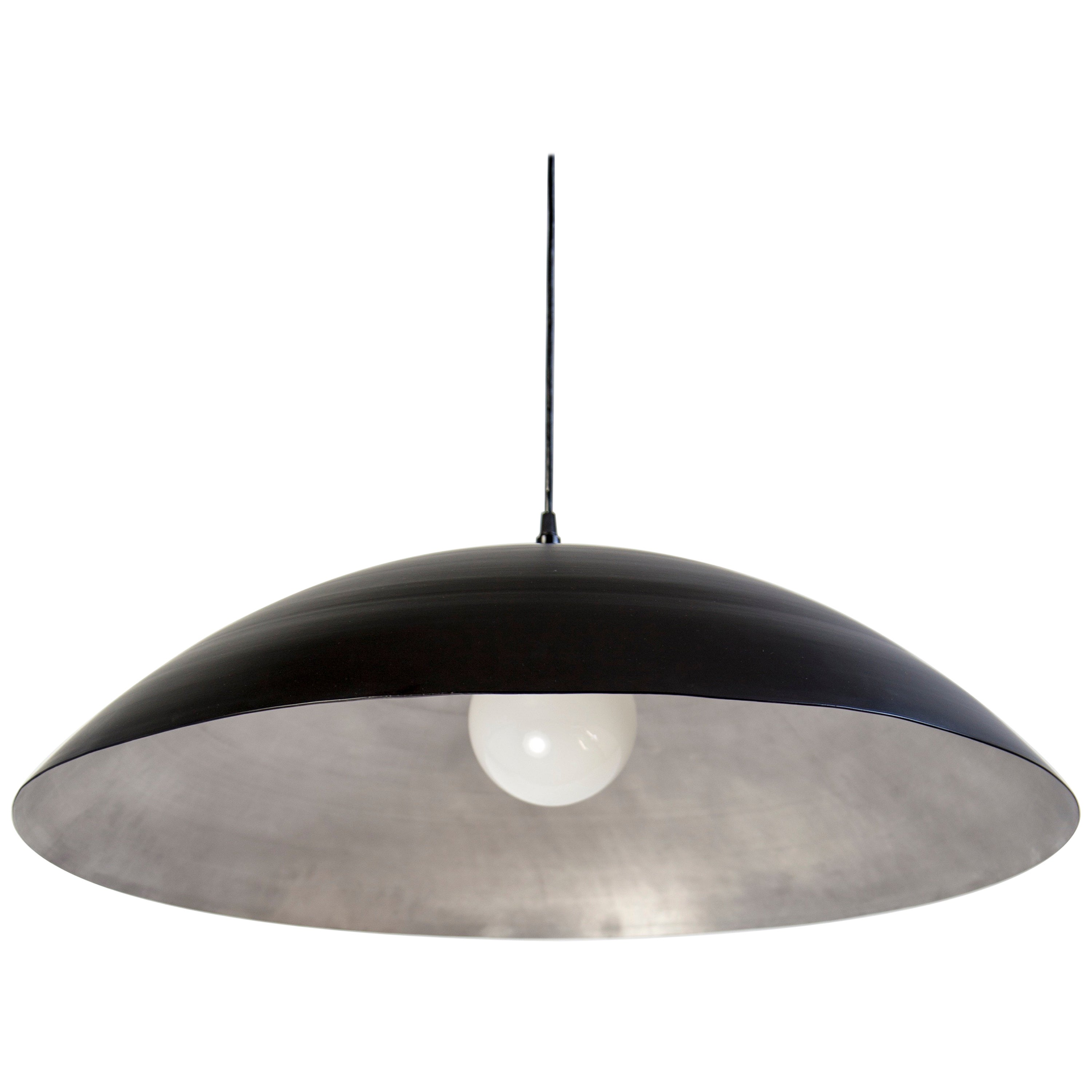 Super Customizable Huge Industrial Dome Pendant Lamp, Black and Silver PJ-28