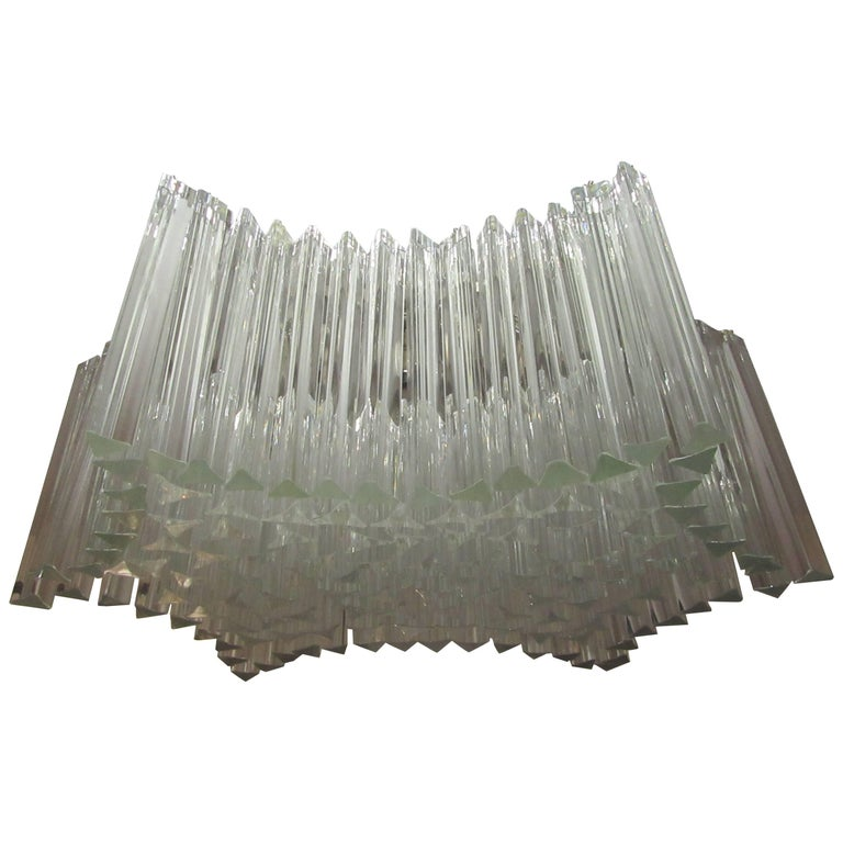 Large Venini Triedri Glass Flush Mount Chandelier For Sale