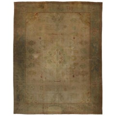 Antique Turkish Oushak Rug with Traditional Style and Time-Softened Colors