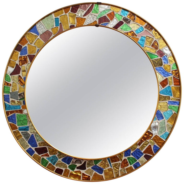 Mid-century Spanish Mosaic Round Wall Mirror, circa 1960s For Sale