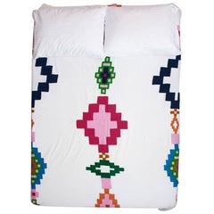 Colorful Modern Geometric Embroidered Coverlet