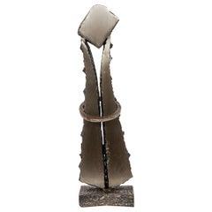 Brutalist Steel Sculpture, Canadian, circa 1979, Signed Chauveau