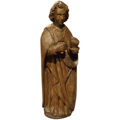 Carved Solid Oak Statue of St John the Evangelist, circa 1600