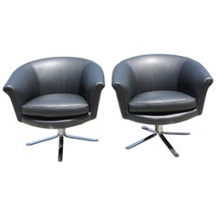 Pair of Nicos Zographos Swivel Chairs