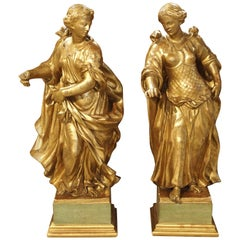 Stunning Pair of Large Antique Carved Giltwood Statues, circa 1860