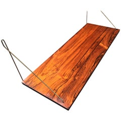 Vintage Danish Floating Shelf in Rosewood and Brass, 1960s