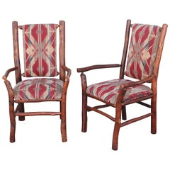 Hickory Armchairs Upholstered in Western Fabric