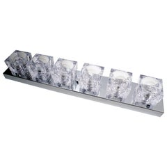 1960s Gaetano Sciolari Six-Light Crystal Cube Flush Mount Strip Lamp