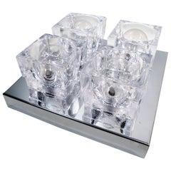 1960s Gaetano Sciolari Four-Light Crystal Cube Flush Mount Lamp