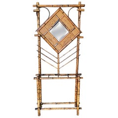 Restored Tiger Bamboo Coat Rack Hall Tree with Mirror, Aesthetic Movement