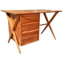 1950s X-Leg Desk with Bookcase