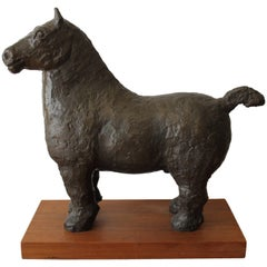 Bronze Brutalist Horse on Stand