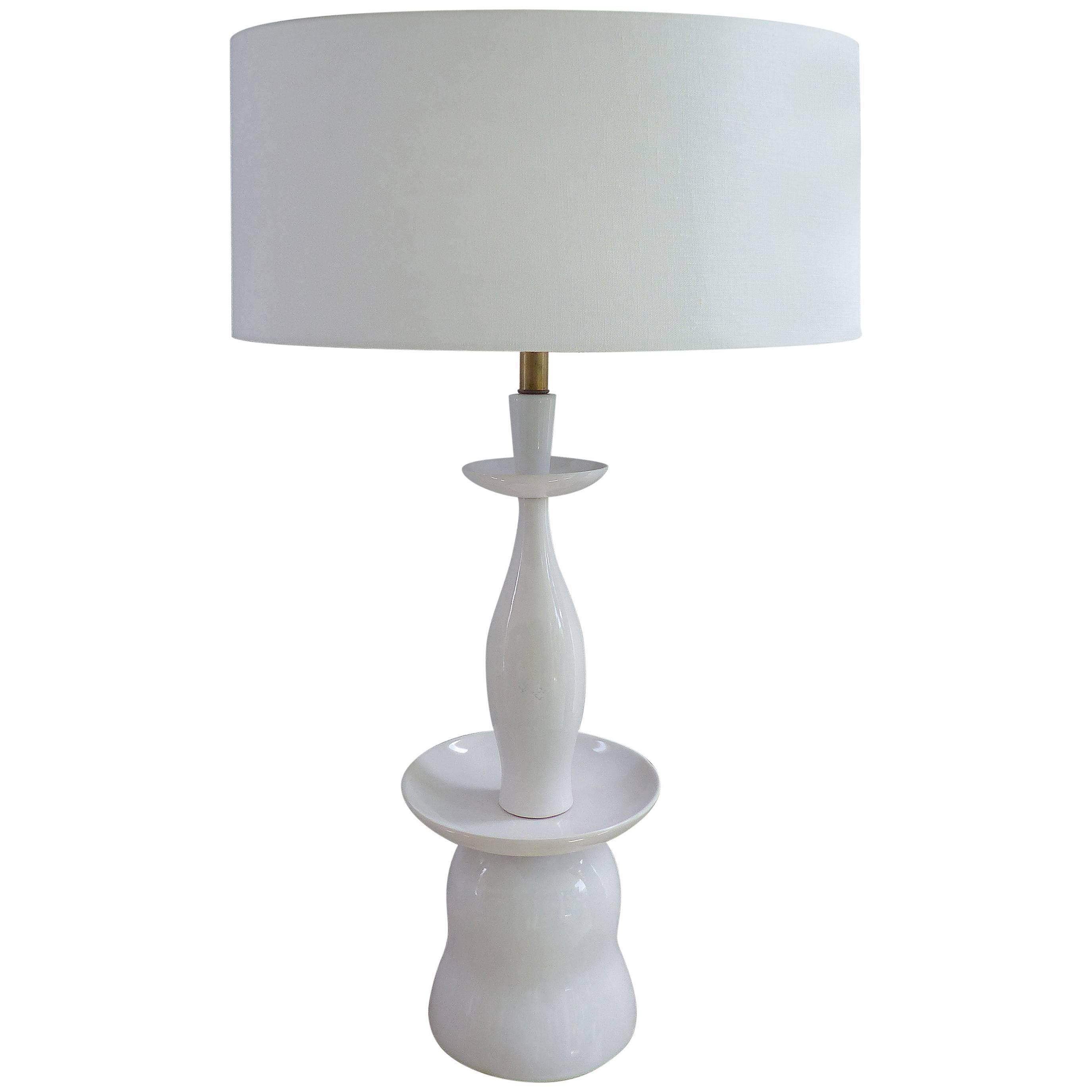 White Porcelain Table Lamp By Gerald Thurston For Lightolier For Sale