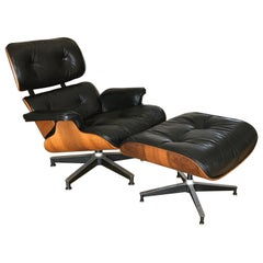 Original Midcentury Charles Eames Leather Lounge Chair and Ottoman