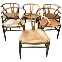 Six Original Hans Wegner Wishbone/ Y 'CH24' Chairs