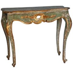18th Century Rococo Italian Console with Faux Stone Top, Origin: Italy, ca. 1750