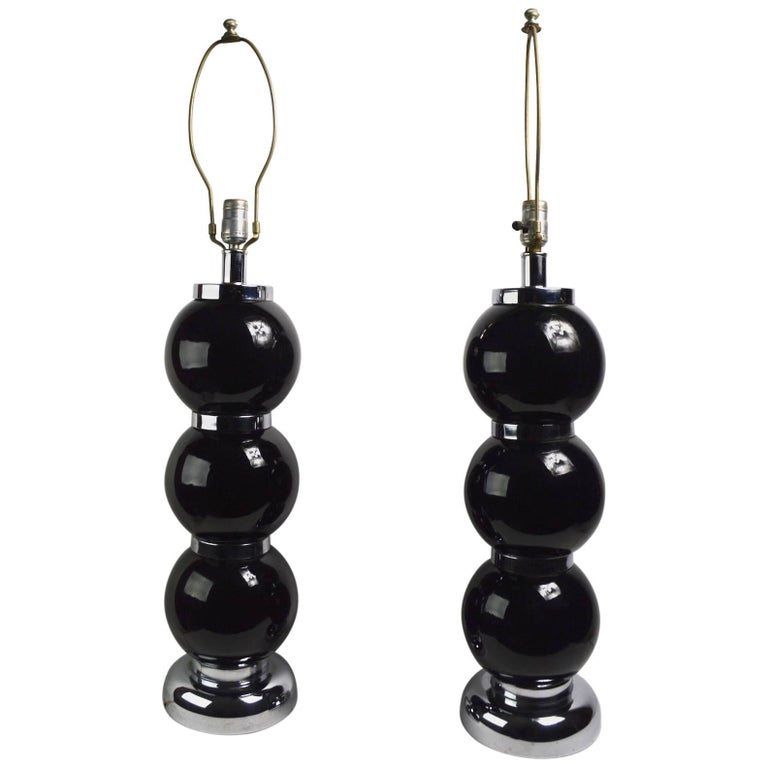 Pair of Black Chrome Ball Lamps by Kovacs