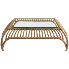 Vintage Rattan and Glass Coffee Table in the Manner of Franco Albini
