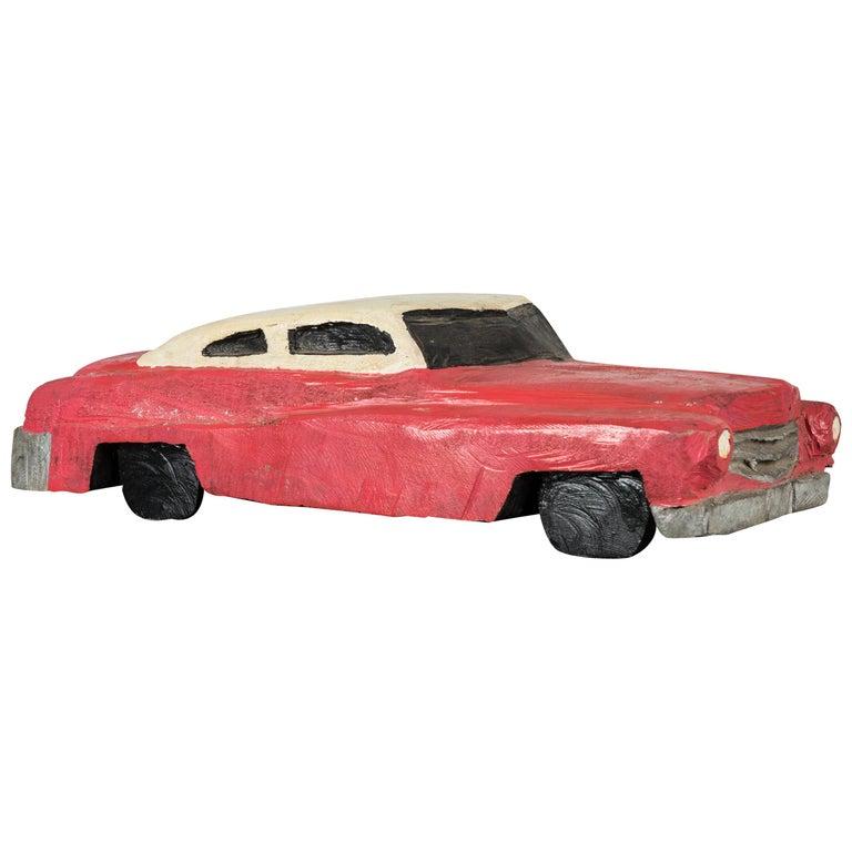 Wood Carved Folk Art American Muscle Car