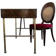Mastercraft Burl Wood, Leather and Brass Desk and Chair