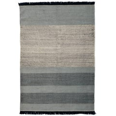 Hand-Loomed Tres Stripes Rug in Blue by Nani Marquina & Elisa Padro, Large