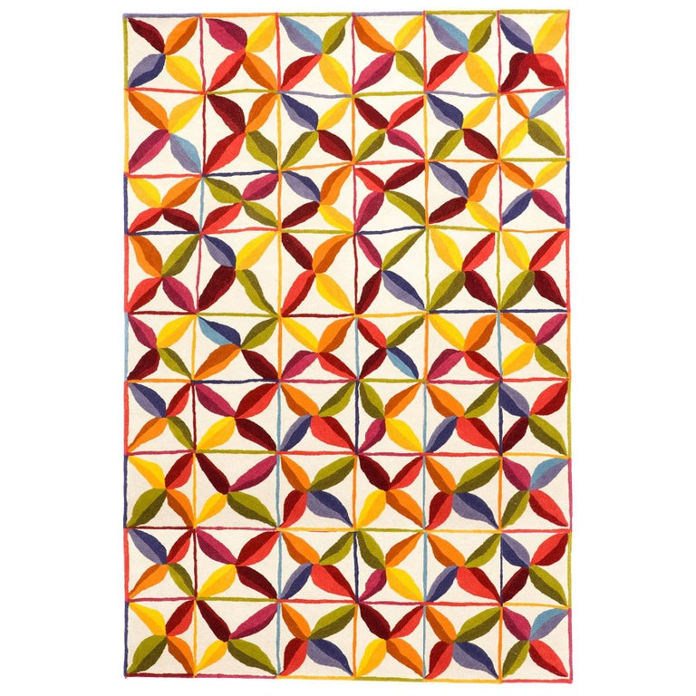 Hand-Tufted Kala Square Rug in Orange & Red by Nani Marquina & Care & Fair, Stan