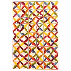 Hand-Tufted Kala Square Rug in Orange and Red by Nani Marquina and Care and Fair
