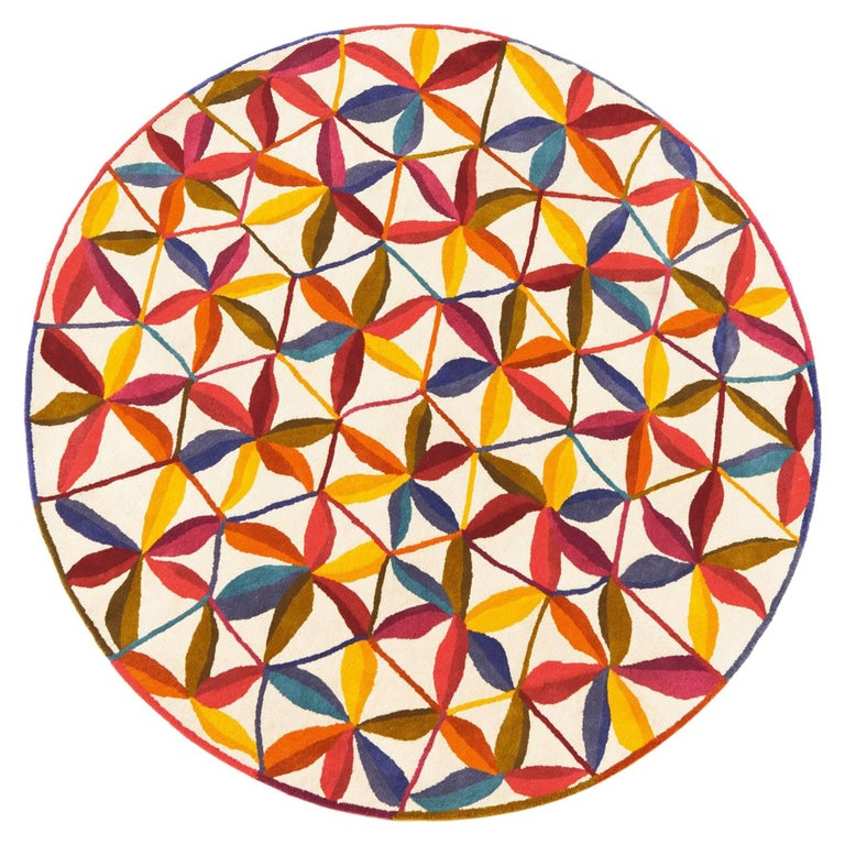 Hand-Tufted Kala Circular Rug in Orange & Red by Nani Marquina & Care & Fair, La For Sale
